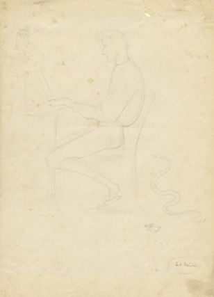 Original pencil sketch by the French artist Paul Jean Flandrin (1811-1902). Ambroise THOMAS