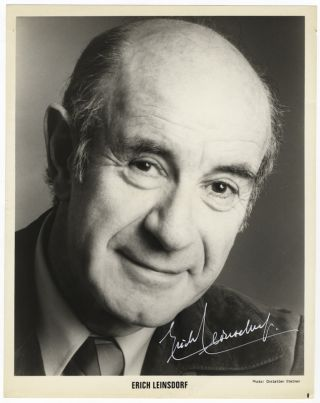 Publicity photograph of the conductor in his later years. Signed in white ink. Erich LEINSDORF.