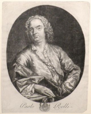 Mezzotint portrait of the librettist, half-length, seated at a table. HANDEL, Paolo Antonio Rolli.