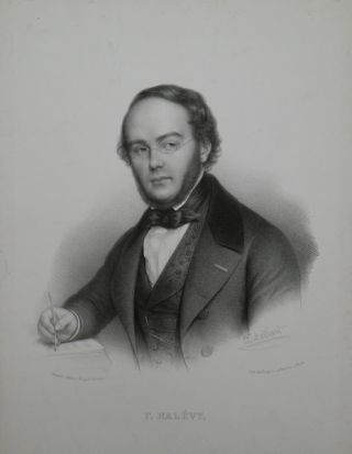 Fine large bust-length portrait lithograph by Zéphirin Belliard (1798-?1857). Jaques Fromental HALÉVY.