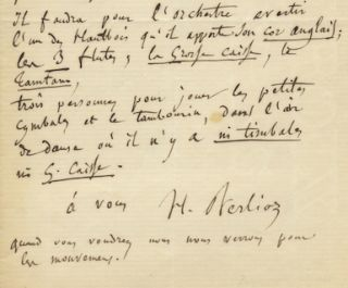"Autograph letter signed ""H. Berlioz,"" possibly to Georges Hainl, conductor of the Paris. Hector..."