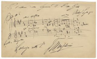"Autograph musical quotation signed ""E Mascheroni"" from his opera Lorenza. Edoardo MASCHERONI"