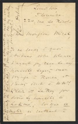 Autograph letter signed to Monsieur Miral. Léo DELIBES
