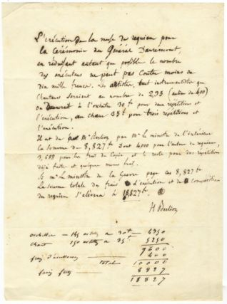 "Important autograph document signed ""H. Berlioz"" detailing costs for the first performance of the Requiem, op. 5, ca. 1837. Hector BERLIOZ."