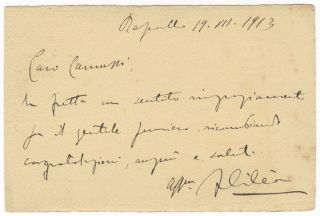 "Autograph letter signed ""F Cilea"" to composer [Ezio] Camussi dated Rapallo, July, 19, 1913. Francesco CILEA."