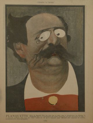 Portrait caricature by Aroun-al-Rascid [pseud. Umberto Brunelleschi] (1879-1949). Jean-Robert-Julien PLANQUETTE.