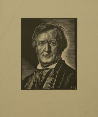 Portrait wood engraving by Louis Joseph Soulas (1905-1954). Richard WAGNER.
