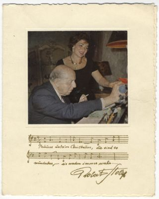 Attractive bust-length photograph of the Austrian composer and conductor in jacket and tie, signed in full, inscribed in dark blue ink to Alexius Fernandes, and dated Vienna, October 1957
