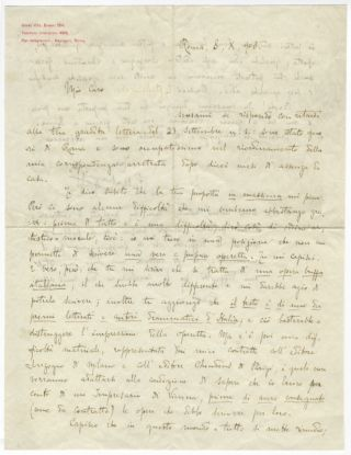 "Autograph letter signed ""P Mascagni"" to an unidentified impresario in Vienna, addressed ""Mio..."