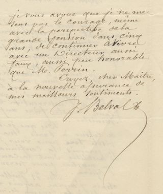 "Two autograph letters signed ""J Belval"" concerning a lawsuit at the Paris Opéra. Jules-Bernard..."