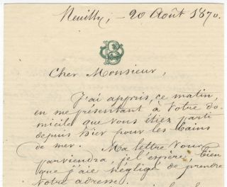 "Two autograph letters signed ""J Belval"" concerning a lawsuit at the Paris Opéra"