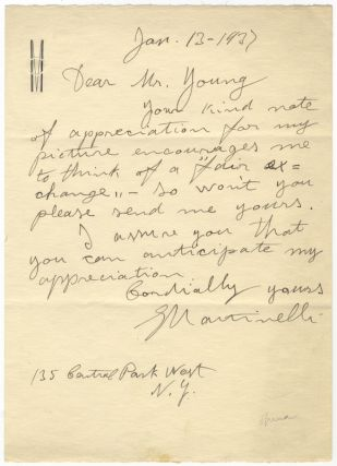 "Autograph letter signed ""G Martinelli"" to Mr. Young dated New York, January 13. Giovanni MARTINELLI"