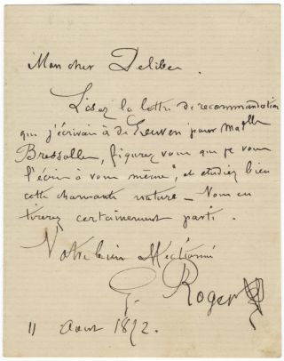 "Autograph letter signed ""G. Roger"" to composer [Léo] Delibes. Gustave-Hippolyte ROGER"