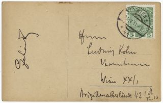 """Three-quarter length postcard photograph by """"E[mil] Bieber, Hofphotograph, Berlin & Hamburg,"""" with facsimile incipits from """"The Merry Widow"""" and """"The Count of Luxemburg."""" Signed """"Lehár"""" on verso, with autograph panel addressed to """"Herrn Ludwig Kohn [...] Wien XX/1 Brigittenauerlände 42 1 St. Th. 13"""""""