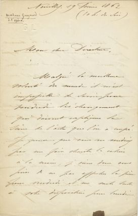 "Autograph letter signed ""Pauline Gueymard"" to ""Mon cher Director"" [?Alphonse Royer, Director of..."