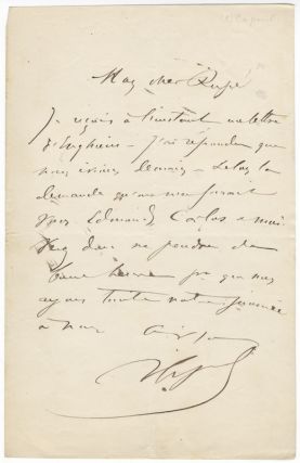 "Three autograph letters signed ""V Capoul"" most probably to composer Georges Rupé. Victor CAPOUL"