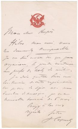 """Three autograph letters signed """"V Capoul"""" most probably to composer Georges Rupé."""