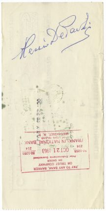 Autograph signature on verso of a Metropolitan Opera Association check in payment for services rendered