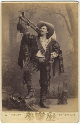 Full-length role portrait cabinet card photograph as Werner in Der Trompeter von Säkkingen by Victor Nessler (1884). Karl SCHEIDEMANTEL.