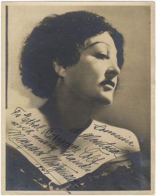 Bust-length photograph signed in full, dated 1941, and inscribed to actress and singer Ethel...