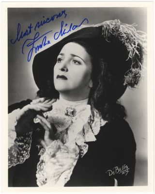 Bust-length role portrait photograph of the soprano as Leonora in Verdi's La Forza del Destino,...