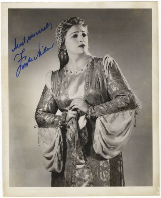 "Three-quarter-length role portrait photograph of the soprano in the title role of Ponchielli's La Gioconda. Signed in full, inscribed ""Most sincerely."" Zinka MILANOV."