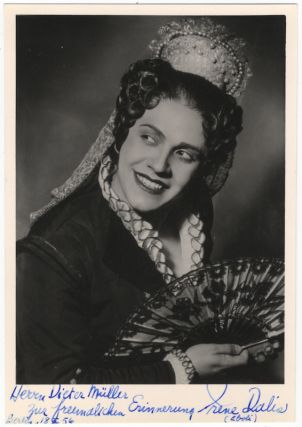 Postcard role photograph as Eboli in Don Carlos. Signed in full. Irene born 1925 DALIS