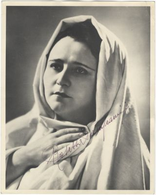 Bust-length role portrait photograph of the soprano as Santuzza in Mascagni's Cavalleria rusticana. Signed in full. Rosetta PAMPANINI.