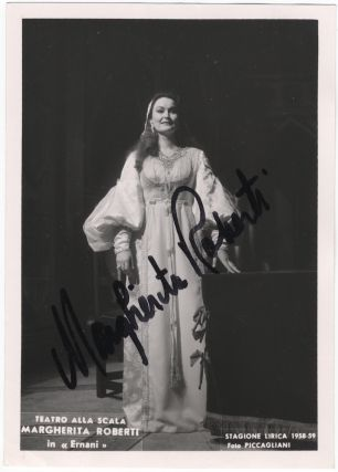 Full-length role portrait photograph as Elvira in Ernani, signed in full in black marker. Margherita born 1935 ROBERTI.