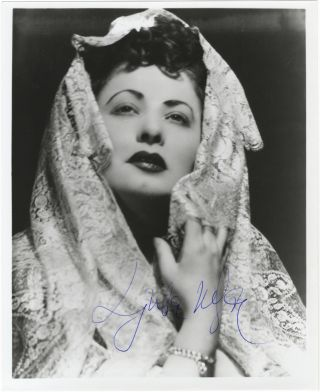 Bust-length role portrait photograph of the soprano as Donna Anna in Mozart's Don Giovanni. Signed in full. Ljuba WELITSCH.