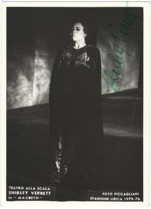 Full-length role portrait photograph as Lady Macbeth in Macbeth, signed in full in green ink. Shirley VERRETT.