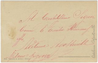 Postcard photograph signed in full and inscribed in red ink on verso