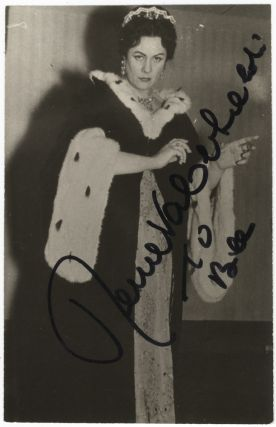 "Three-quarter length role portrait photograph of the soprano in the title role of Puccini's Tosca, signed in full and inscribed ""To Bill."" Renata TEBALDI."