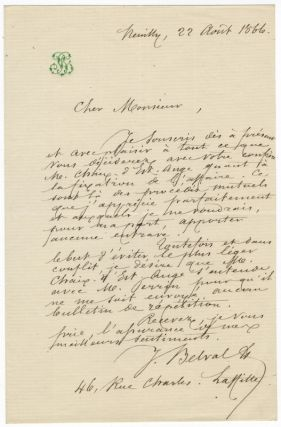 "Autograph letter signed ""J. Belval"" to an unidentified correspondent. Jules-Bernard BELVAL"