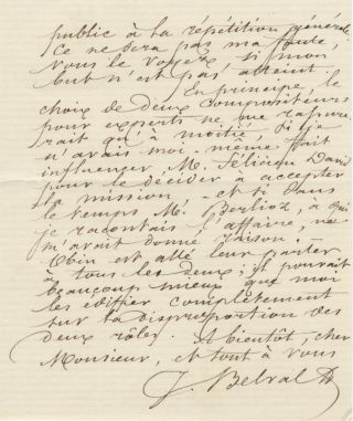 "Autograph letter signed ""J. Belval"" to unidentified correspondent"