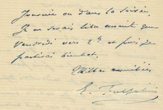 "Autograph letter signed ""E. Frezzolini"" to the French music publisher Marie Escudier. Erminia..."