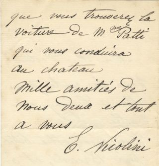 "Autograph letter signed ""E. Nicolini"" to an unnamed doctor. Ernest NICOLINI."