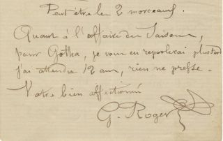 "Autograph letter signed ""G. Roger"" to the Belgian poet and translator Gustave Oppelt (1817-1888). Gustave ROGER."