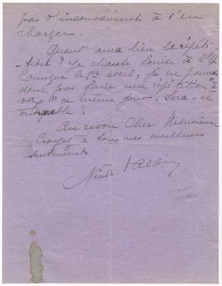 Autograph letter signed in full to impresario [Charles?] Wagner. Ninon VALLIN