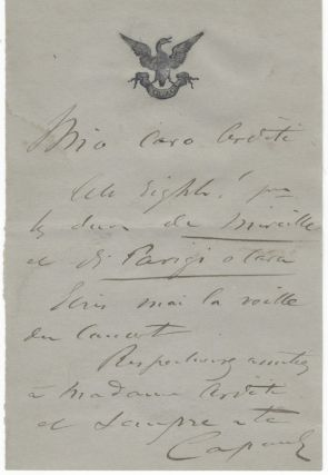 "Autograph letter signed ""Capoul"" to composer, conductor, and violinist [Luigi] Arditi. Victor CAPOUL"