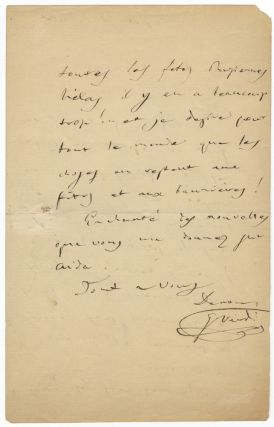 "Autograph letter signed ""G. Verdi"" to his accountant Luigi Peragallo. Giuseppe VERDI."
