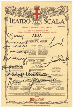 Broadside program for a production of Verdi's Aida at the Teatro alla Scala, signed by various cast members and inscribed. Giuseppe VERDI.
