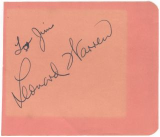 "Autograph signature on an album leaf inscribed ""To Jim"" Leonard WARREN."