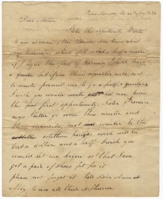 "Autograph letter signed ""B[enjamin] P Howell"" to Mrs. Anna Howell, Fancy Hill [Berks. DANCE -..."