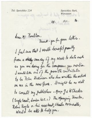 Three autograph letters signed to pianist and editor Alan Poulton. Lennox BERKELEY.