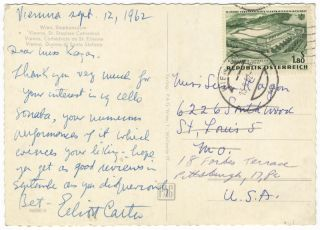 Autograph letter signed in blue ink to pianist Susan Kagan. Elliott CARTER.
