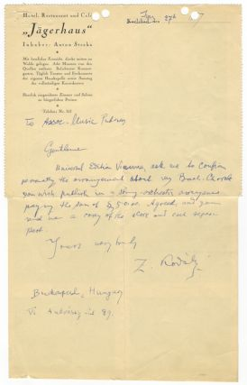 "Autograph letter signed ""Z. Kodály"" to Associated Music Publishers in New York. Zoltán..."