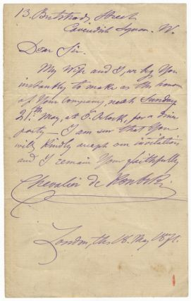 Two autograph letters signed, one in Kontski's hand, the other in that of his wife Natulie. Together with manuscript drafts of two articles in Natulie's hand lauding Kontski's piano playing. Anton de KONTSKI.