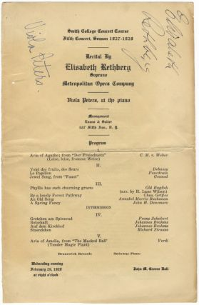 Signed program for a recital of songs and arias by Weber, Debussy, Schubert, R. Strauss, Verdi,...