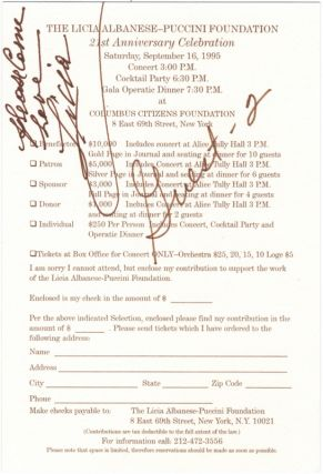 Invitation with RSVP card signed and inscribed to musicologist Paul Jackson. Licia ALBANESE.